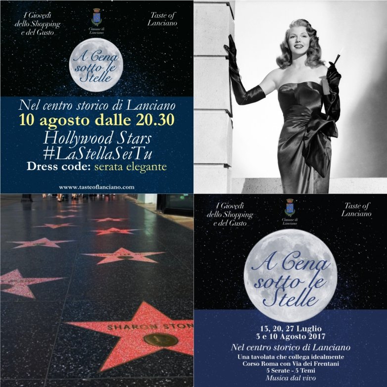 10 agosto - A cena sotto le stelle - Hollywood Stars - Dress code: serata Elegante!